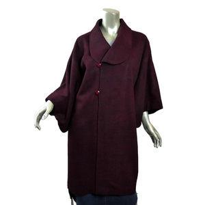 Unique Japanese Wool Kimono Coat Burgundy Black